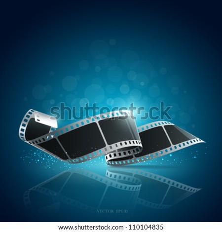 Camera film roll blue background, vector illustration