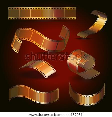 Camera film roll gold color set, 35 mm, festival movie icons vector illustration - stock vector