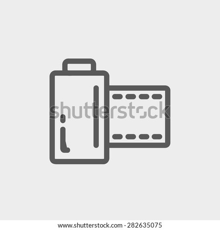 Camera film roll icon thin line for web and mobile, modern minimalistic flat design. Vector dark grey icon on light grey background. - stock vector