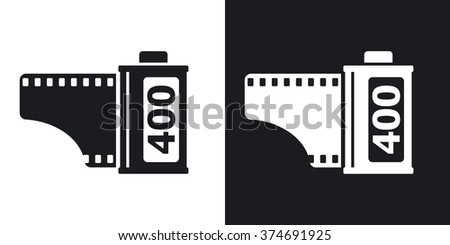 Camera film roll icon, vector. Two-tone version on black and white background - stock vector