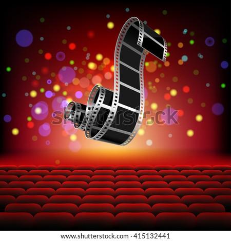 Camera Film roll on background Cinema hall. Illustration Vector. - stock vector