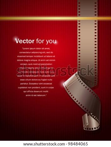 Camera film roll on wallpaper red background, vector illustration - stock vector