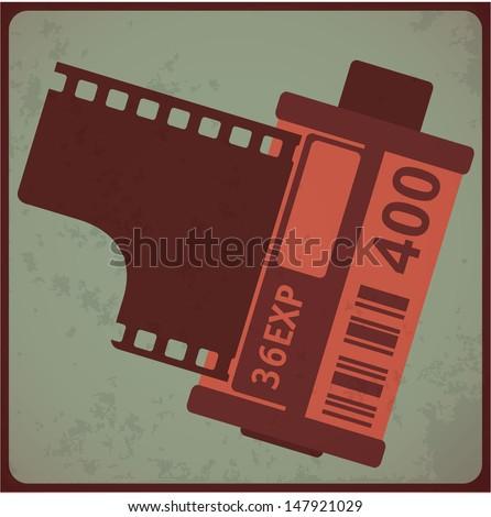 Camera film roll. Vintage styled vector illustration. - stock vector