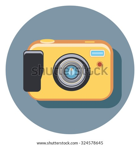 camera flat icon in circle - stock vector
