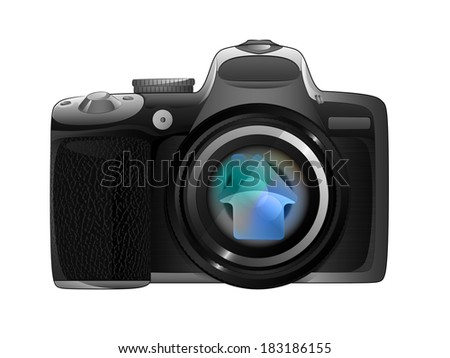 camera focus ready to snapshot modern architecture isolated vector illustration