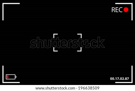 Camera focusing screen recording viewfinder background - stock vector