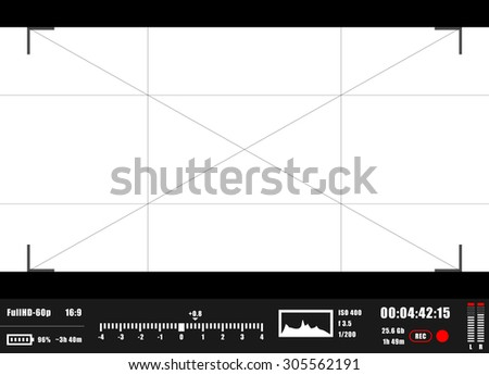 Camera focusing screen. Viewfinder digital video camera. - stock vector