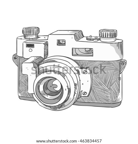 Camera Freehand Sketch Stock Vector 463834457