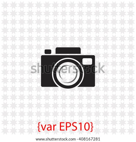 Camera icon. Camera vector. Simple icon isolated on gray background. - stock vector