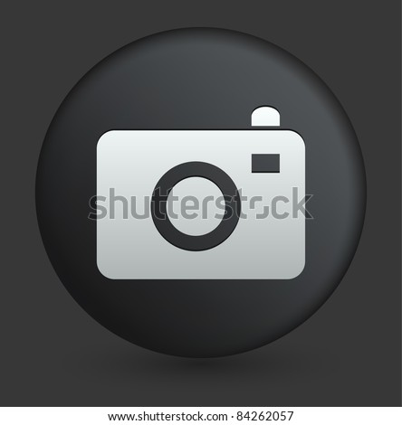Camera Icon on Round Black Button Collection Original Illustration - stock vector
