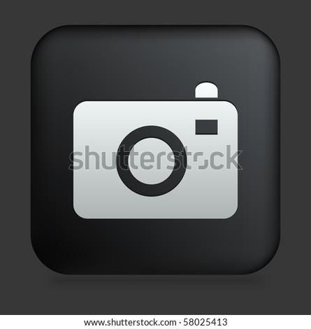 Camera Icon on Square Black Internet Button Original Illustration - stock vector