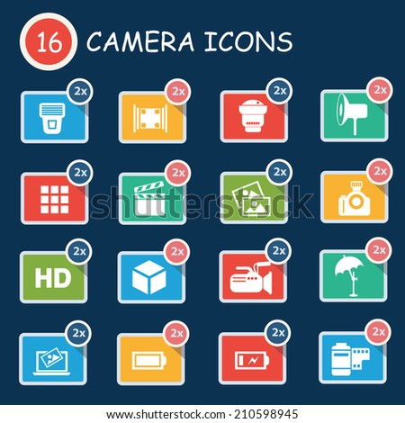 Camera icon set,clean vector - stock vector