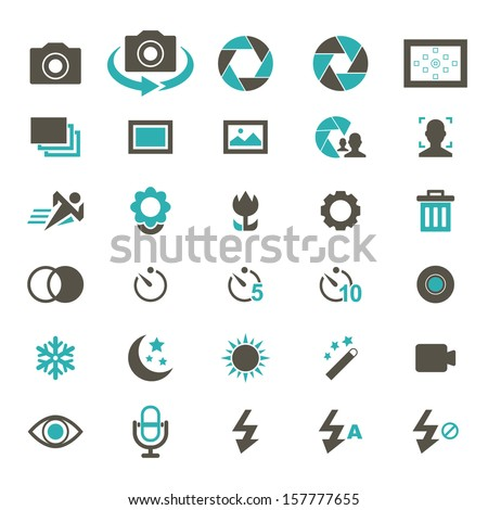 Camera Icon set - Color - stock vector