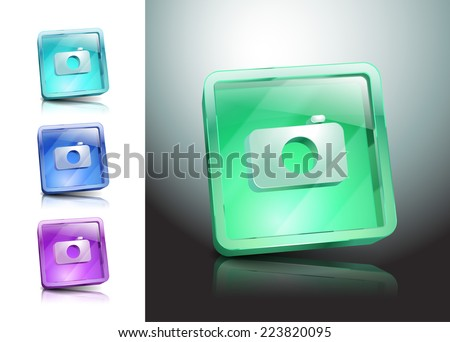 camera icon  symbol illustration lens photo button - stock vector