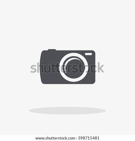 Camera Icon. Vector flat black  illustration isolated on background with shadow.