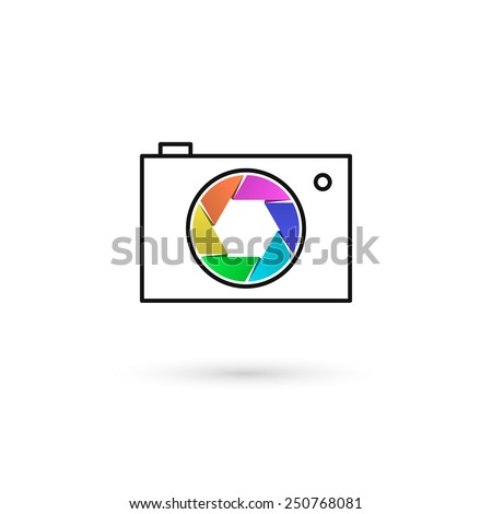 Camera icon with colorful lens. Outline shape. Isolated on white background. Vector illustration, eps 10. - stock vector