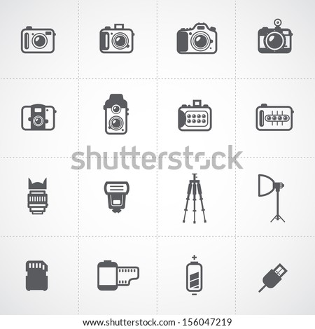 Camera Icons and Camera Accessories Icons and Photography Icons - stock vector