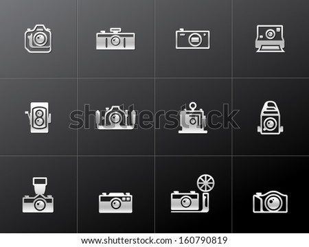 Camera icons in metallic style - stock vector