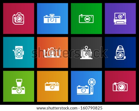 Camera icons in Metro style - stock vector