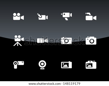 Camera icons on black background. Vector illustration. - stock vector