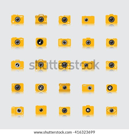 Camera Icons Set - Isolated On Gray Background - Vector Illustration, Graphic Design - stock vector