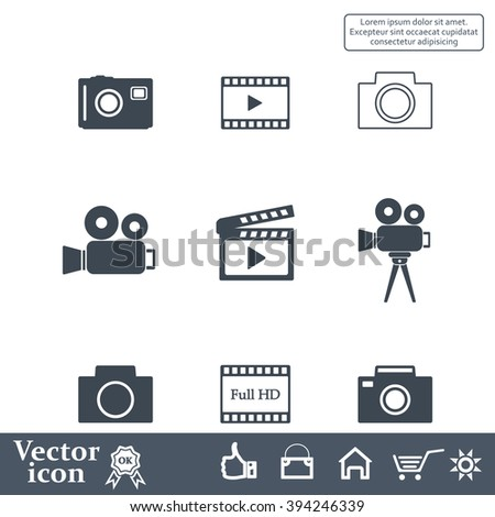 Camera icons. Vector illustration.