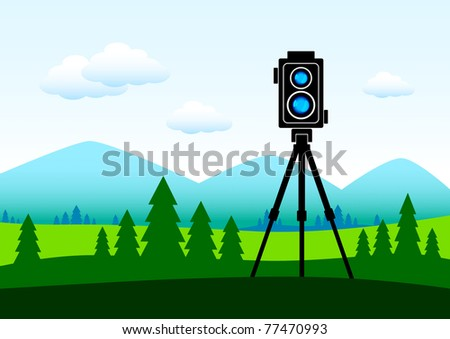 Camera in green landscape - stock vector