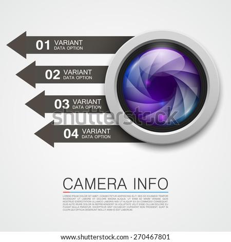 Camera info banner. Vector illustration - stock vector