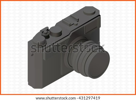 camera isolated on white background. photocamera isometric flat vector 3d illustration - stock vector
