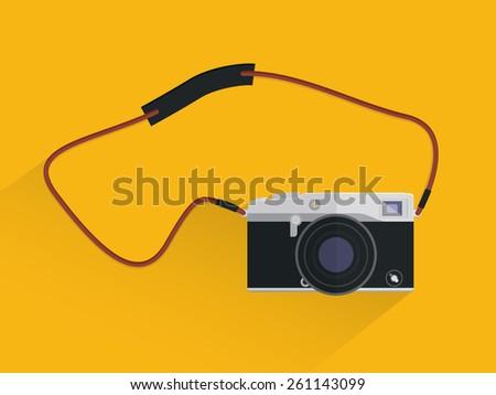 Camera leather belt - stock vector