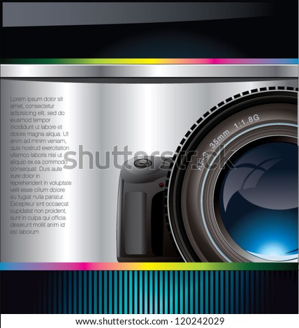 Camera lens background - stock vector