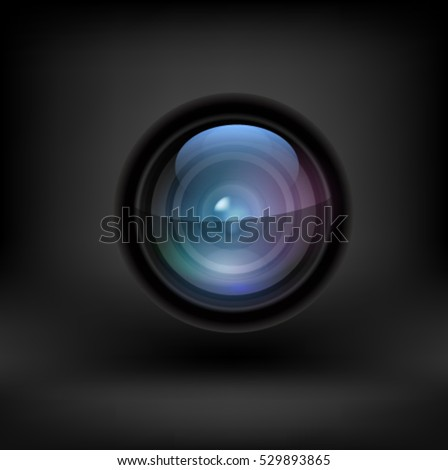 Camera lens black background. Vector