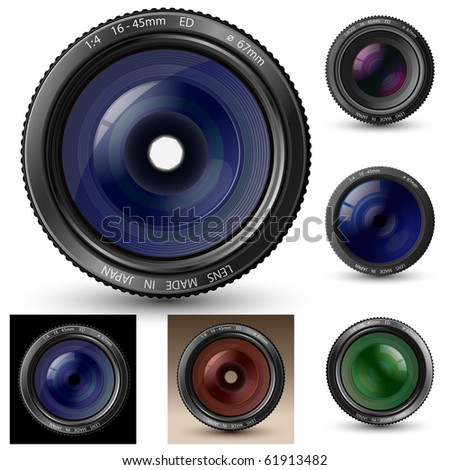 Camera lens collection. A camera lens vector illustrations with realistic reflections and shadow - stock vector