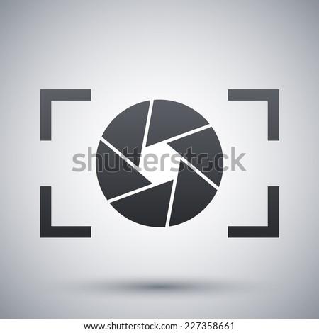 Camera lens icon, stock vector - stock vector
