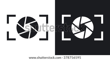 Camera lens icon, stock vector. Two-tone version on black and white background