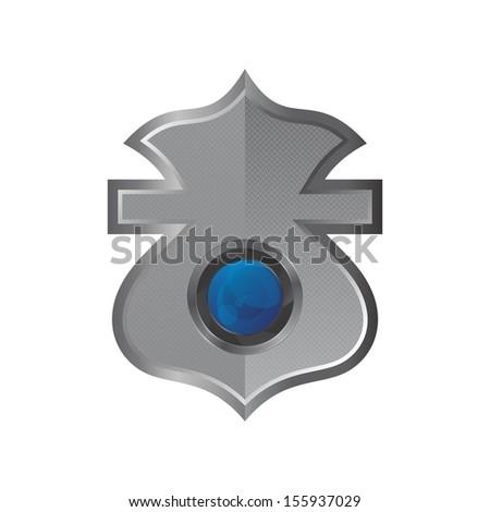 camera lens inside shield - stock vector