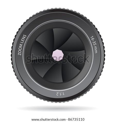 Camera Lens isolated on a white background - stock vector