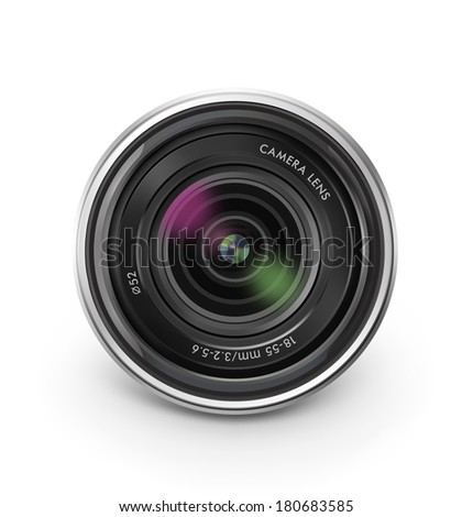 Camera lens isolated on white background. Detailed vector illustration. Realistic. - stock vector