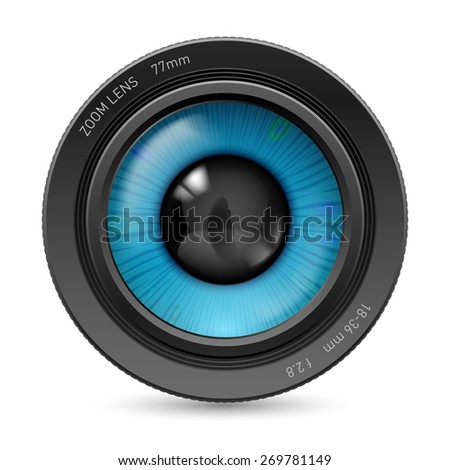 Camera lens isolated on white background. Illustration blue eye - stock vector