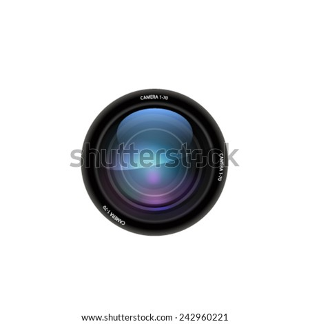 Camera lens on white background. Vector - stock vector