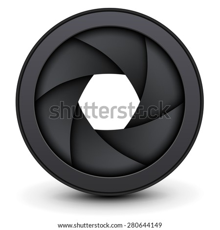 Camera lens shutter, vector illustration. - stock vector