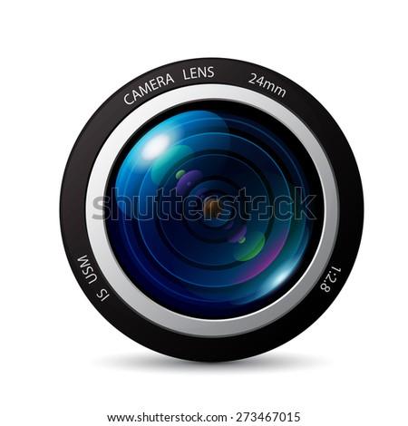 Camera lens vector icon - stock vector