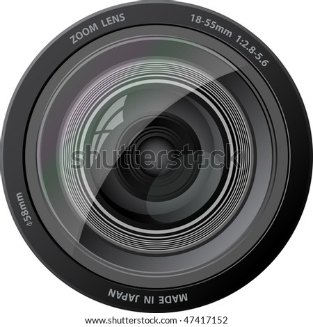 Camera lens. Vector illustration. With rainbow effect. EPS10. - stock vector