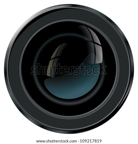Camera lens viewed from front with free space for characteristics - stock vector