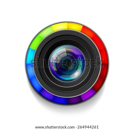 Camera Lens with Color Wheel - stock vector