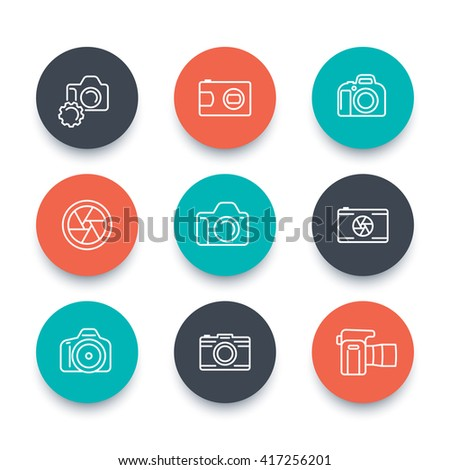camera line icons, dslr, aperture, photography, slr camera pictogram, flat round icons set, vector illustration - stock vector