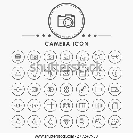camera line icons with circle button - stock vector