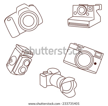 camera object Collection Hand Drawn Sketch Doodle - stock vector