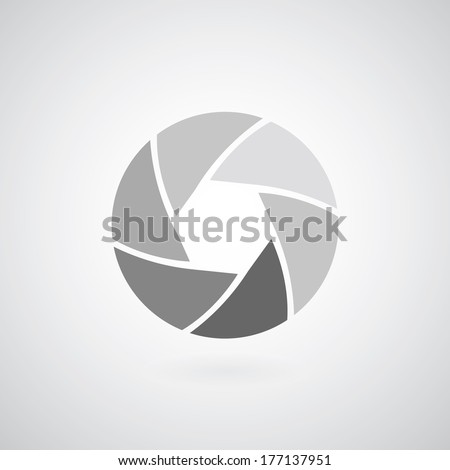 camera objective icon on gray background  - stock vector