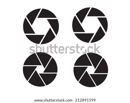 Camera objective icon,shutter icon,camera isolated,shutter vector - stock vector